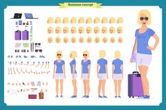 Tourist female, vacation traveller character creation set.Full length, views, emotions, gestures, tan skin tones, white background royalty free illustration