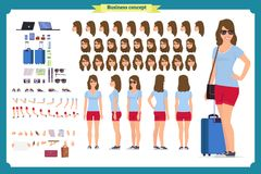 Tourist female, vacation traveller character creation set. Full length, views, emotions, gestures royalty free illustration