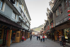 Tourist in Fenghuang,China. FENGHUANG - APRIL 13 : tourist on traditional street food gift on April 14, 2015 in Fenghuang ,China.Fenghuang ancient town was Royalty Free Stock Images