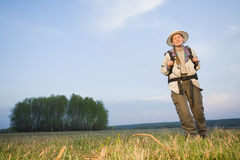 Tourist at field Stock Photography