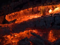 A tourist fire. Smoldering charcoal of a burning fire Stock Images