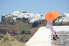 Tourist in Firostefani, Santorini Royalty Free Stock Photography