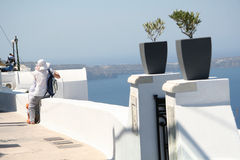 Tourist in Firostefani, Santorini Royalty Free Stock Image