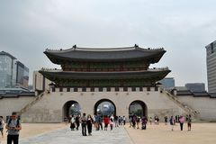 Tourist flocking to Seoul Northern Palace Gyeongbokgung. Pic w. As taken in August 2017 Stock Photography
