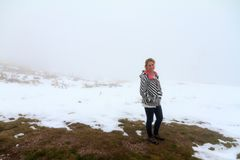 Tourist in the fog at the Rila lakes stock photo