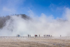 Tourist in a fog in Yellowstone National Park Stock Photo