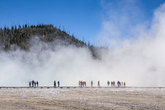 Tourist in a fog in Yellowstone National Park Stock Photography