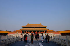 Tourist at Forbidden City Beijing China in winter 2015. Forbidden City Beijing China in Winter Stock Images