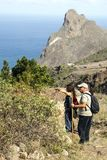 Tourist in the forest of Anaga. On the island of Tenerife, Canary Islands Spain. It´s a editorial picture in vertical Royalty Free Stock Images
