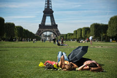 Tourist in front of Eiffel Tower in Paris. France Stock Photo