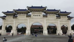 Tourist at front gate National Chiang Kai-shek Memorial Hall in Taiwan stock video footage