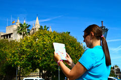 Tourist in front of Majorca Palma Cathedral  at Balearic Islan Stock Images