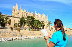 Tourist in front of Majorca Palma Cathedral  at Balearic Islands Royalty Free Stock Photos