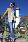 Tourist in front of Saint Simons Lighthouse stock image