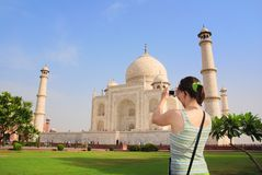 Tourist in front of Taj Mahal Stock Images