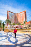 Tourist in front of Treasure Island Hotel Stock Photos
