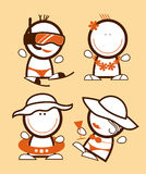 Tourist funny peoples. Set of tourist funny peoples icons vector illustration