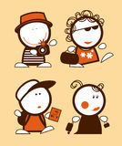 Tourist funny peoples. Set of tourist funny peoples icons Royalty Free Stock Images