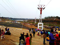 Tourist gathering on dhuadhar waterfall Jabalpur India royalty free stock photos