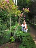 Tourist genießt blühenden Baum Lizenzfreie Stockbilder