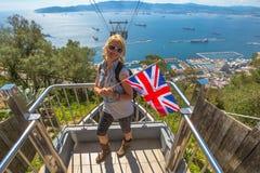 Tourist at Gibraltar Rock Stock Photos
