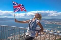 Tourist at Gibraltar Rock Stock Photo