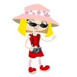 Tourist girl. Cartoon style tourist girl illustration vector Royalty Free Stock Photography