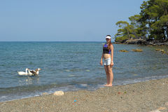 Free Tourist Girl And Geese In The Water Royalty Free Stock Photo - 42663015