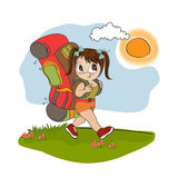 tourist girl with backpack Stock Images