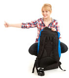 Tourist girl with backpack, stopping car Stock Images