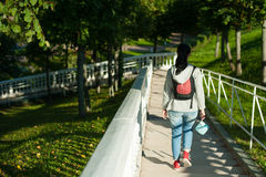 Tourist girl with backpack Royalty Free Stock Photography