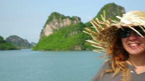 Tourist girl on boat at Halong Bay,Vietnam stock footage