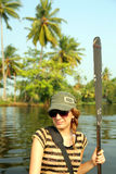 Tourist girl at canoe in kerala Stock Images