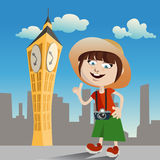 Tourist girl (clock tower) Royalty Free Stock Image