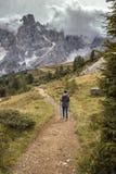 Tourist girl at the Dolomites Stock Photos