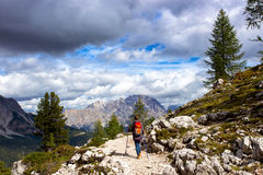 Tourist girl at the Dolomites Royalty Free Stock Images
