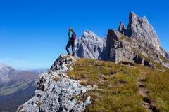 Tourist girl at the Dolomites Stock Image