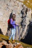 Tourist girl at the Dolomites Royalty Free Stock Photos