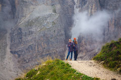 Tourist girl at the Dolomites Stock Photography