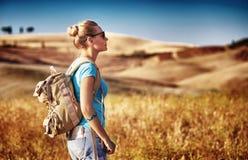Tourist girl enjoying view Royalty Free Stock Photos