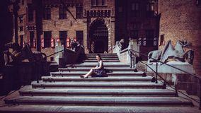 Tourist girl in the entrance of the De Haar Castle Royalty Free Stock Images