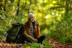 Tourist Girl in the Forest royalty free stock photo