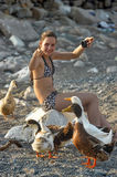 Tourist girl and geese Royalty Free Stock Images