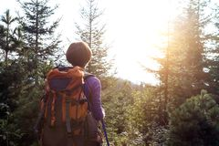 Tourist girl on a mountain royalty free stock image