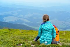 The tourist girl. Tourist girl and mountain views. Carpathians,  Ukraine. beautiful landscape royalty free stock images