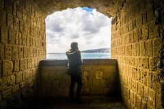Tourist girl in Naples stock images