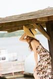 Tourist girl near lake Stock Photography