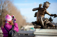 Tourist girl in Paris Stock Image