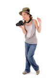 Tourist-girl with photocamera Stock Images