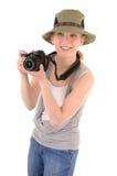 Tourist-girl with photocamera Stock Photos